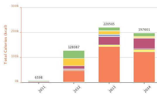 Estimación de kcal anuales consumidas