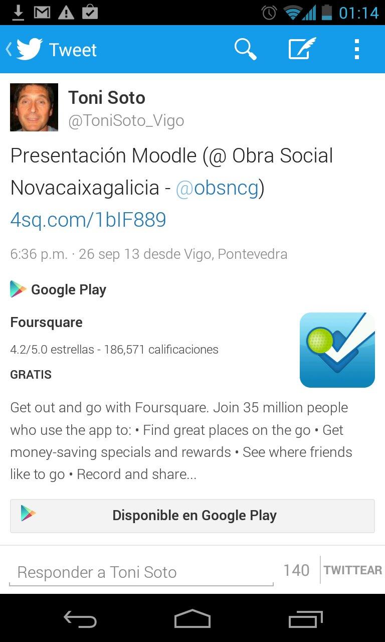 Twitter + FourSquare presentación Moodle en ObraSocialNCG (Vigo)